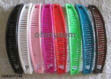 16 NEW MULTI COLOR  PLASTIC BANANA HAIR CLIP / COMB / CLAW 6 INCH LONG SOLID