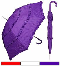 "Lot of 12 - 48"" Parasol Style 3-Ruffle Umbrella-RainStoppers Rain/Sun UV Costume"