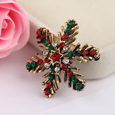 For Women Christmas Pins And Brooches Snowflake Rhinestone Brooch