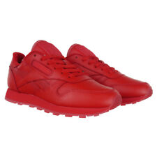 ​Reebok Classic Leather Solids Mens Womens Red Sneakers Shoes Lace Up Trainers