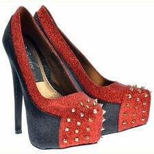 WOMENS LADIES BLACK RED GLITTER GOLD SPIKE STUD STILETTO HEEL PLATFORM SHOES UK3
