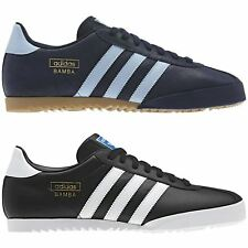ADIDAS ORIGINALS BAMBA TRAINERS BLACK BLUE SHOES SNEAKERS SIZES 7 - 12