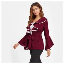 DA12 Dramatic Burgundy Wine Red Stretch Layered Ruffle Belted Blouse Top