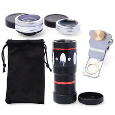 4-in-1 10xTelephoto Lens+Fisheye+Wide Angle+Macro Lens Kit with Phone Clip