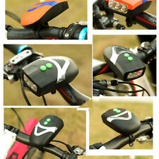 Waterproof Bicycle Bike 3 LED White Front Light Headlight Electronic Horn Bell