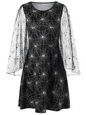 Women Dress Lace Sleeve Spider Web Print Flare Long Sleeve Evening Party Dress