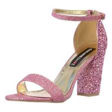 Womens Strappy Glitter Party Block Heel Ankle Strap Gold Silver Black Pink