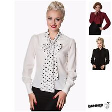 "Banned Shirts Vintage Retro Tops Rockabilly ""Sent With Love Tie Neck"" Blouse"