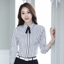 Classic Pussy Bow Tie Neck Blouse Shirt Top OL Long Sleeve Business Shirt Women