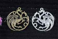 3/10/50pcs Tibetan Silver Exquisite two-sided dragon Charms Pendant 35x33mm