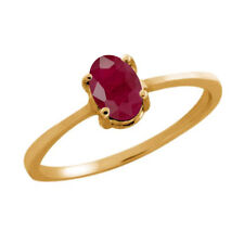 0.60 Ct Oval Red Ruby 10K Yellow Gold Ring