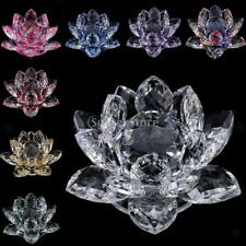 Crystal Lotus Flower Figure Crafts Home Table Desk Top Ornaments Decor 8x5cm