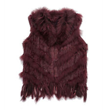 Natural Real Rabbit Vest with Raccoon Fur Collar for Women Stripe Knitted Jacket