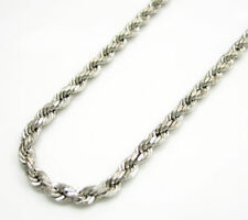 """10K White Gold 2MM Diamond Cut Rope Chain Necklace 16""""- 22"""" Inches"""