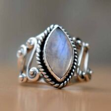 925 Silver Huge Moonstone Gemstone Wedding Woman Party Gift Ring Size 6-10