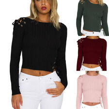 New Womens Slim Lace-Up Long Sleeve Crop Top Ladies Jumper Pullover Blouse Shirt