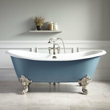 "72"" Lena Cast Iron Clawfoot Slate Blue Tub with Monarch Imperial Feet"