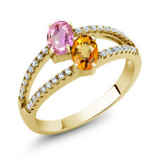 1.51 Ct Oval Pink Sapphire Yellow Sapphire 18K Yellow Gold Plated Silver Ring