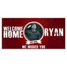 Welcome Home Custom Photo Red Military Banner Party Backdrop