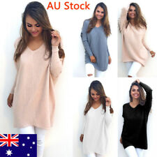 AU Women Winter Knitted Tops Ladies V Neck Sweater Girls Casual Blouse Jumper