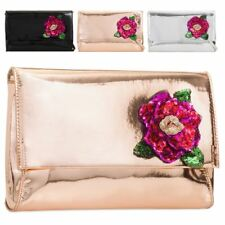 New Patent Leather Sequin Flower Detail Ladies Evening Prom Clutch Bag Handbag