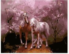"""16X20"""" Paint By Number DIY Acrylic Kit Painting Two Horses in Wood Canvas 2016"""
