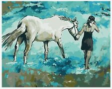 """16X20"""" Paint By Number DIY Acrylic Kit Oil Painting Girl and Horse Canvas 2026"""