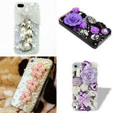 Shiny Crystal Flowers Pearls Diamond Silver Bow-knot Case Cover For iPhone 6/6S+