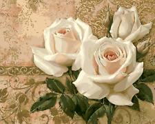 """16X20"""" Paint By Number White Roses DIY Acrylic kit Oil Painting Canvas 1963"""