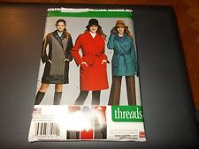 Simplicity Pattern 1015 Ms THREADS Coat~Jacket w/Button-Out Lining & Tie Belt