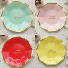 Supplies Round Party Disposable New Paper Plates 8pcs Tableware Birthday Cake