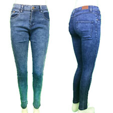 LADIES/ WOMEN SUPPER SKINNY JEANS DENIM MID BLUE ACID WASH SIZE 6-18