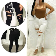Stretchy Skinny Trousers Pencil Pants Womens High Waisted Jeggings