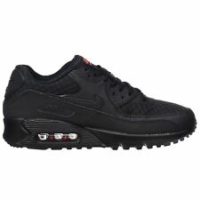 Nike Air Max 90 Essential Black Mens Leather Casual Lace Sports Trainers