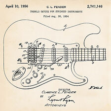 1956 Fender Stratocaster Art Poster Tremolo Patent prints Guitar Gifts Presents