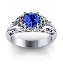 925 Silver Sapphire Women Jewelry Wedding Engagement Gift Ring Size 5-11