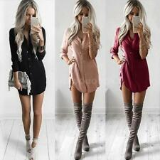 Hot Sale Womens Shirt Mini Dress Long Sleeve Asymmetrical Autumn Dresses U5U7