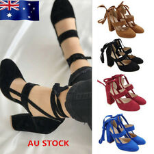 AU Womens Suede Strappy Block High Heels Sandals Ladies Party Evening Shoes Size