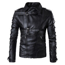 Men Leather Motorcycle Jacket Fashion Racing Motorbike Windproof Coat Biker Tops