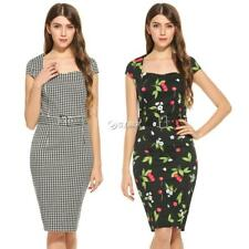 New Women Vintage Style Square Neck Cocktail Party Bodycon Pencil Dress DZ88