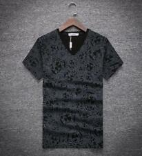 Men's V neck Assemble head Print Pattern Cotton Short sleeve Newest M-XL