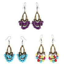 Bohemian Ethnic Handmade Tassel Beads Hook Drop Dangle Earrings for Women