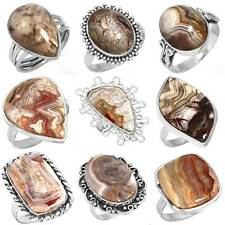 925 Sterling Silver Natural Crazy Lace Agate Ring Size 5 6 7 8 9 10 11 eS945