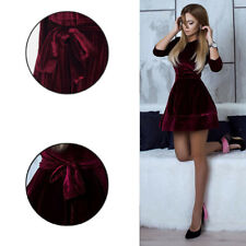 Women's Fashion Casual Korean Cotton Velvet Dress Ladies Evening Party Dress
