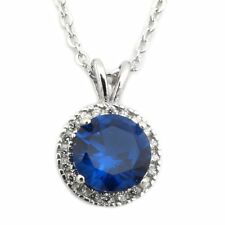 Sterling Silver Rhodium Plated Simulated Birthstone & CZ 8mm Halo Necklace