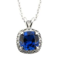 Sterling Silver Rhodium Plated Simulated Birthstone & CZ 8mm  Necklace
