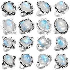 925 Sterling Silver Natural Rainbow Moonstone Ring Size 5 6 7 8 9 10 11 hS017