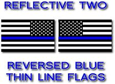 2x REFLECTIVE REVERSED Blue Lives Matter Police USA American Flag Decal Stickers