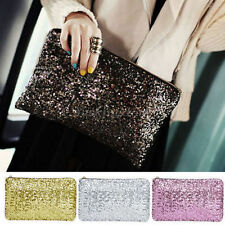 Womens Ladies Sparkling Bling Sequin Clutch Purse Evening Party Handbag Bag MA