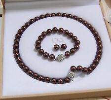 Fashion 8-12mm Chocolate Shell Pearl Round Beads Necklace Bracelet  Earrings AAA